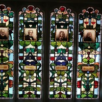 Image: Scientific window, featuring portraits of eminent scientists, Kelvin, Faraday, Wren, Dalton, Brookman Building, 2013