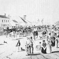 Captain Charles Sturt leaving Adelaide, 1844