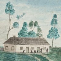 Image: a coloured painting of a small cream coloured building with two doors and a thatched roof. Outside the building a number of Aboriginal men, women and children are gathered.