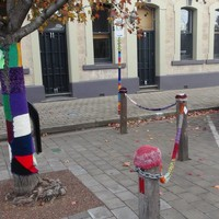 Image: knitting on bollards