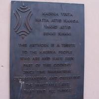 Image: western plaque of Darryl Pfitzner Malika's Yerrakartarta, 2018.