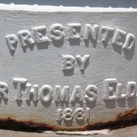 Presented by Sir Thomas Elder 1881 embossed on base of column, Elder Park rotunda