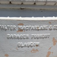 Makers mark on Elder Park rotunda Walter Macfarlane & Co Saracen Foundry Glasgow