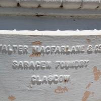 Makers mark on Elder Park rotunda Walter Macfarlane & Co Saracen Foundry Glasgow