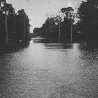 Image: heavily flooded road intersection
