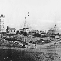 Image: Black and white photo of a signal station, circa 1877