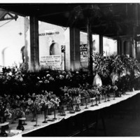 Image: long table covered with vases of flowers