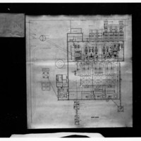 Old, detailed ink on paper plan for a power station.
