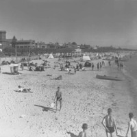 Image: People sunbathing and walking on a beach