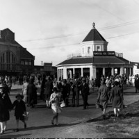 Image: People are walking through the Royal Adelaide Showgrounds.  There are two buildings in the background.  One of the buildings is named: Amscol Ice Cream.