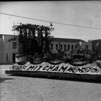 Image: floral float in front of building