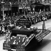 Image: black and white photo of pageant float