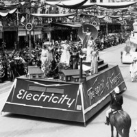 Float showing the advances of electric power, Pageant of Progress, 1936