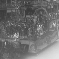 Image: black and white photo of parade float