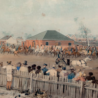 Image: watercolour painting of a group of men on horseback riding through a crowded city street