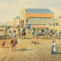 Image: a watercolour painting of a busy city street with a number of people in 1840s attire, including some Indigenous men, either walking or riding down the road. The buildings are single or double storey and are in a range of architectural styles.