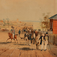 Image: a watercolour painting of wide dirt road upon which a range of people travel by foot, on horseback or on a bullock cart. To the left is a stone building with columned portico, easily the largest and grandest on the street.