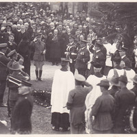 Image: Mourners gathered outside the chapel
