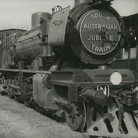 Image: Front view of a long train which has South Australian Jubilee train displayed on the front panel
