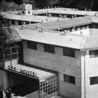 Image: black and white photo of building complex