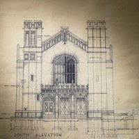 Image: An architectural drawing of a large hall showing the south elevation with two towers and three doors under a large window
