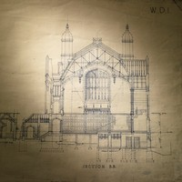 Image: An architectural drawing of a large hall