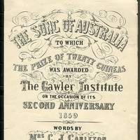 Image: Cover page for the 'Song of Australia' sheet music.