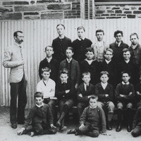 Black and white photograph of boys at Sturt Street Primary School, 1887.
