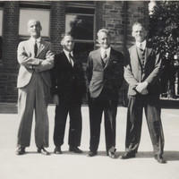Black and white photograph of four male teachers from Sturt Street School, taken in around 1935.