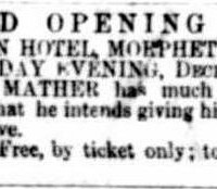 Grand Opening Ball newspaper advertisement, 24 December 1864