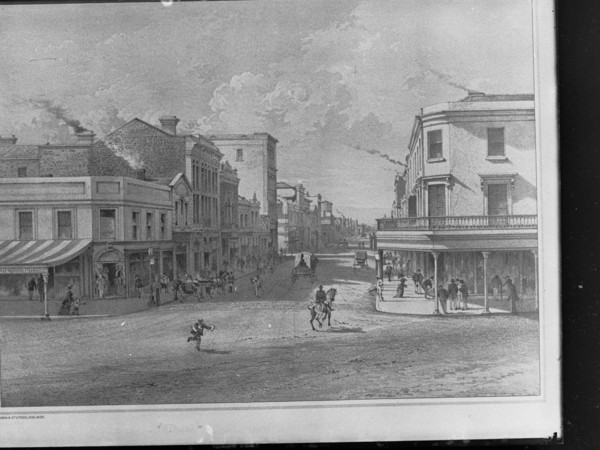 Image: black and white sketch of street scene