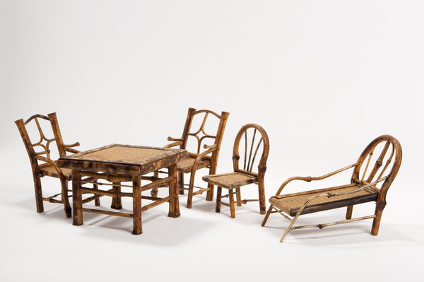 Image: cane chairs and table