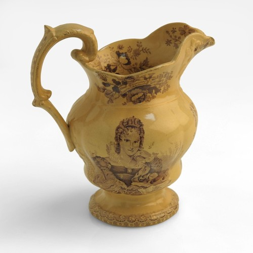 Image: brown jug with images of flowers and a woman