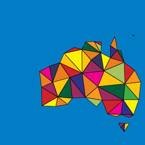 Image: map of Australia in multicoloured pattern