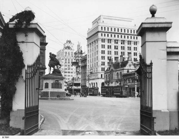 Image: View through gates towards the city
