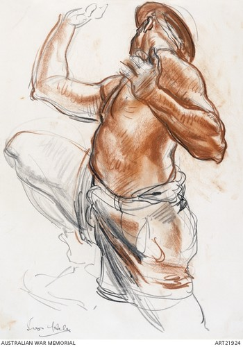 Image: A side profile drawing of a man with a bare upper body with arms and one leg up in a jumping position