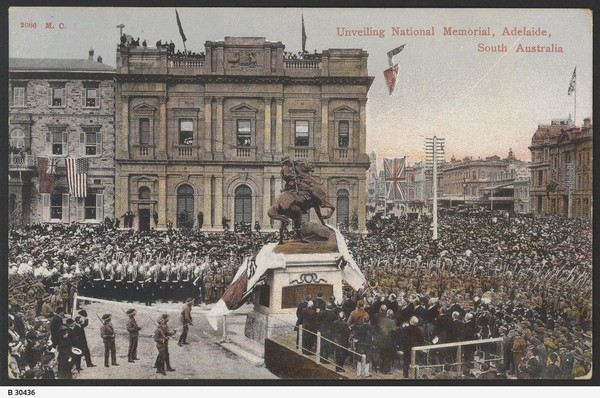 Image: coloured image of people around statue pulling off cover for the unveiling ceremony