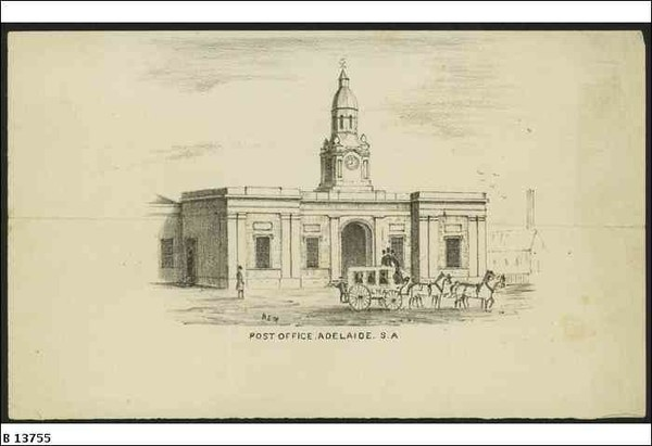 Image: A sketch of a rectangular single-storey building with a central clock tower with cupola. A horse and carriage is parked in front of the building