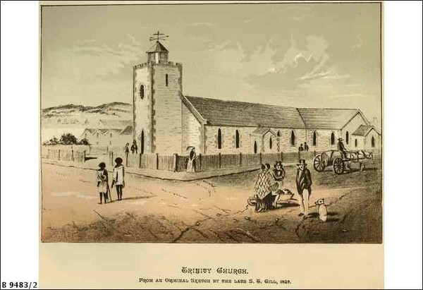 Image: a sketch of a small stone church with a square tower with belfry located centrally on the front façade of the building. The church is on the corner of two roads and is situated behind a low wooden fence.