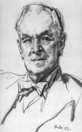 Image: A sketched head-and-shoulders portrait of a middle-aged man wearing a suit with bow tie