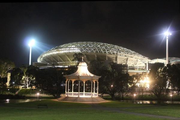 Elder Park rotunda at night with Adelaide Oval, September 2013