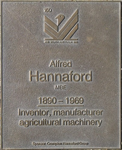 Jubilee 150 walkway plaque of Alfred Hannaford