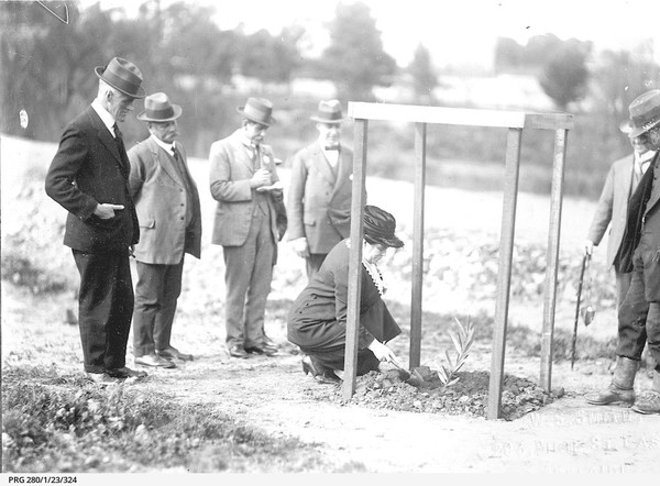 Image: woman crouched down with small spade watched by group of men