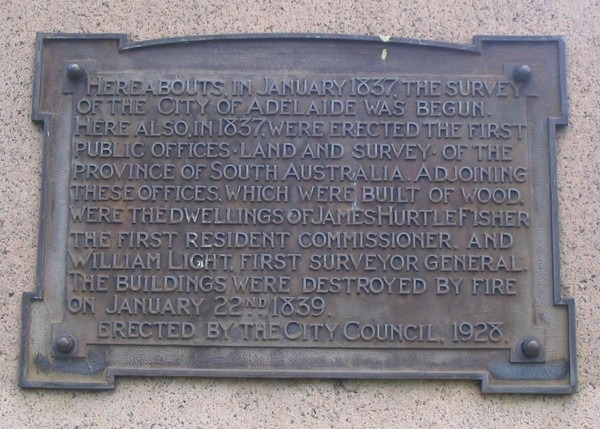 Plaque detail on Colonel Light's Survey Marker Monument