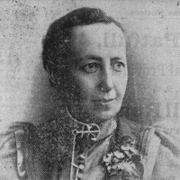 Image: newspaper photo of woman's head and shoulders