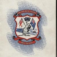 Image: emblem with kangaroo and flags