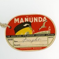 Image: paper tag printed with red background and steamship funnel