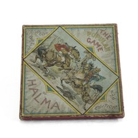 Image: cardboard box showing drawing of two men sword fighting on horseback