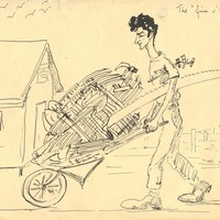 Image: drawing of man pushing wheelbarrow