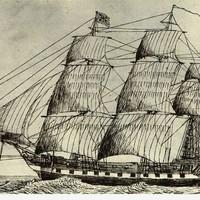Image: pen and ink drawing of sailing ship
